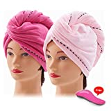 Nelipo Hair Towel -  Microfiber Hair Towel - 2 Pcs Natural   Hair Turban Wrap  Anti-Frizz For Long, Short  Curly Hair - Detangling Brush Included