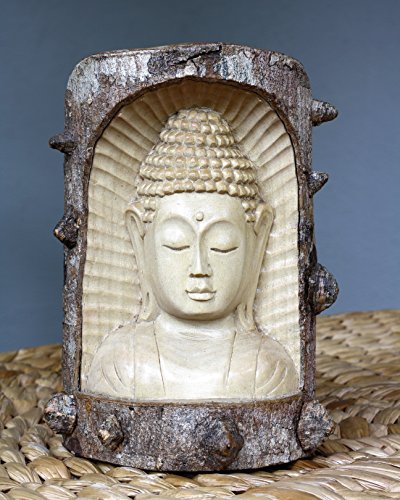 G6 Collection Wooden Serene Buddha Bust Head Statue Hand Carved from Crocodile Wood Sculpture Handmade Figurine Decorative Home Decor Accent Rustic Handcrafted Art Traditional Contemporary Decoration