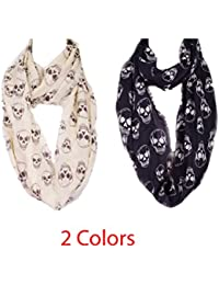 Skull print infinity scarf with raw finish