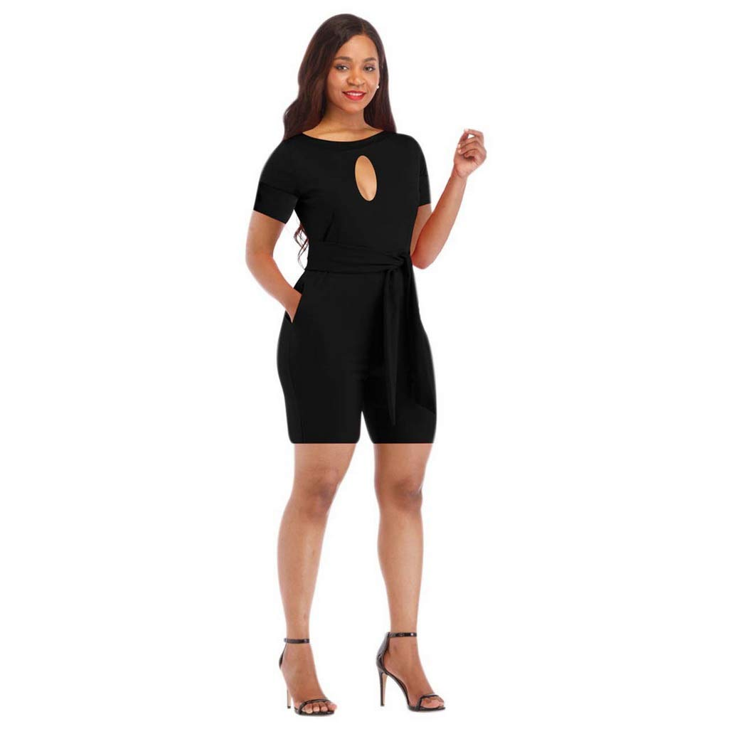 Fafalisa Women Summer Cut Out o-Neck Short Sleeve with Sashes Above Knee Jumpsuit Active wear Playsuit Romper(Black,S)