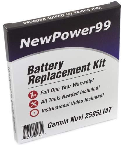 NewPower99 Battery Replacement Kit for Garmin Nuvi 2595LMT with Installation Video, Tools, and Extended Life Battery.