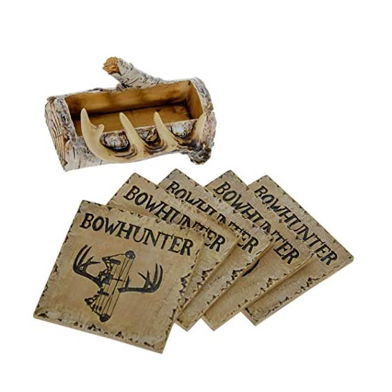 Pine Ridge Home Antler Wood Log Coaster Set with Holder - Bow Hunter Country Absorbent Coaster Decor - Cabin Lodge Home… - PROTECT YOUR FURNITURE: No more drips, puddles, damage, or water stains! The cork on the back of antler drink coasters protects your table from scratches and damage. The cabin coasters also sticks tightly to the countertop and provides good gripping power to prevent the country coasters from slipping off the table. These novelty coasters do not stick to bottom of cups or glasses when lifted. DEER DECORATIONS FOR HOME: With our functional coasters and holder set, you can feel prepared using the best coasters to keep your furniture looking nice for years to come. Use all 5 square drinking cup mats deer coaster set throughout your house, make it easy to leave drinkware on your wooden furniture without harming them. And the real bonus is they look classy and stylish in any home! NON-SKID & NON-SLIP BOTTOM DRINK COASTERS: Cabin decor coasters and coaster holder western has four non-skid padded feet on the bottom to protect table surfaces. Wildlife coaster sets with holder won't slide off your table or scratch your furniture. - living-room-decor, living-room, home-decor - 51IEwgpGj L. SS570  -