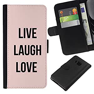 Stuss Case / Funda Carcasa PU de Cuero - Amor Peach Texto motivación - HTC One M7