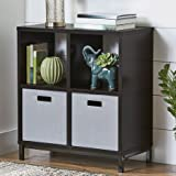 Better Homes and Gardens Square 4-Cube Storage Organizer with Metal Base, Espresso