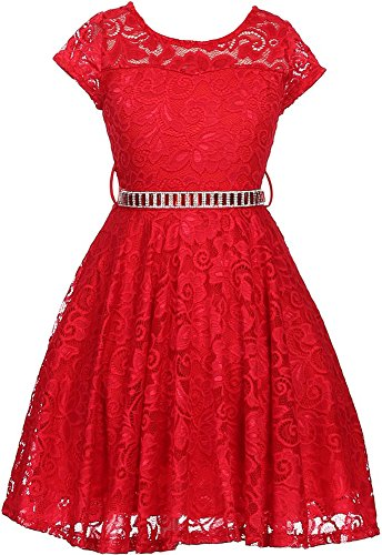 Taffeta Christmas Holiday Dress (Flower Girl Dress Cap Sleeve Jewel Belt Floral Lace All Over for Big Girl Red 10 JK19.88S)