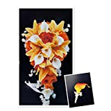 Perfect for Fall weddings-Orange,White-Rose,lily,REAL TOUCH calla lily silk flower cascade bouquet&boutonniere set.Ê