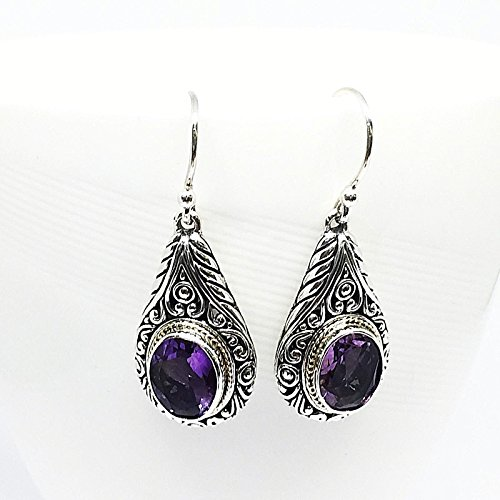 two tone bali carving silver earrings with genuine brazilian amethyst and 18k gold , 925 sterling silver with gems earrings Sterling Silver Brazilian Amethyst Ring