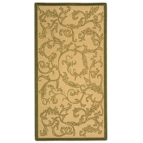 Safavieh Courtyard Collection CY2653-1E01 Natural and Olive Indoor/Outdoor Area Rug, 2-Feet 7-Inch by 5-Feet