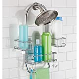 Bathroom Caddy mDesign Swing Bathroom Shower Caddy for Tall Shampoo and Conditioner Bottles, Silver