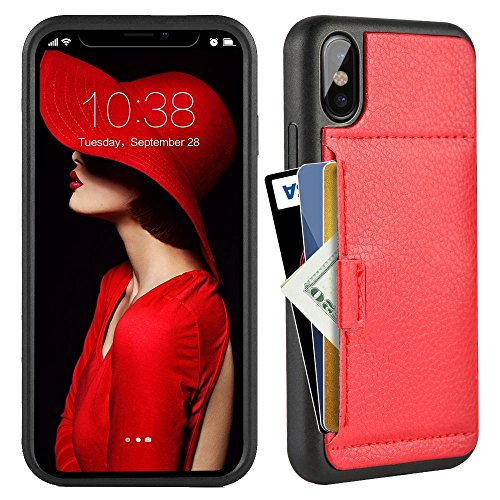 (ZVE Wallet Case for Apple iPhone Xs and X, 5.8 inch, Wallet Case with Credit Card Holder Slot Slim Leather Pocket Protective Case Cover for Apple iPhone Xs and X 5.8 inch (Aries Series)- Red)