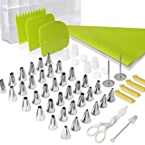 baking and pastry tools - Cake Decorating Supplies Kit, Teenitor 62Pcs Baking Tools Supplies with 36 frosting tips and nozzles pastry bags lifter scissors scrapers cleaning brush flower nail coupler Plastic Sealing Clips