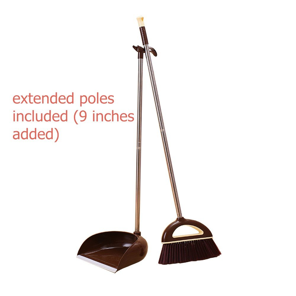 Broom and Dustpan, Long handle Broom and Dust Pan Set. Dustpan With Long Handle 36.9 inches 47.1 inches Long Handle, Never Damage Wood Floor For Schools,Kidgarden,Hotel,Hospital,Lobby (Brown)