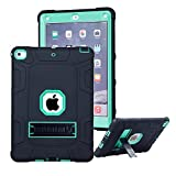 New iPad 2017 iPad 9.7 inch Case - VPR [New] [Stand] 3 In 1 Hybrid Armor Shockproof Protective Kickstand Defender Protection Cover For Apple New iPad 9.7-inch (2017 Version) (Black+Mint 2)