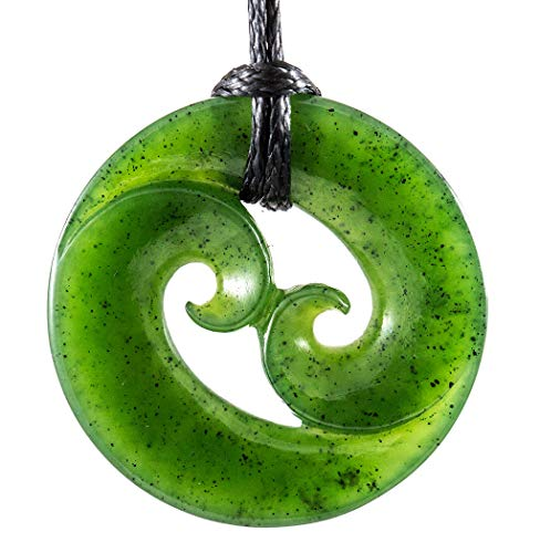 Earthbound Pacific Natural, Nephrite Jade Stylized Maori Closed Double Koru Spiral Necklace