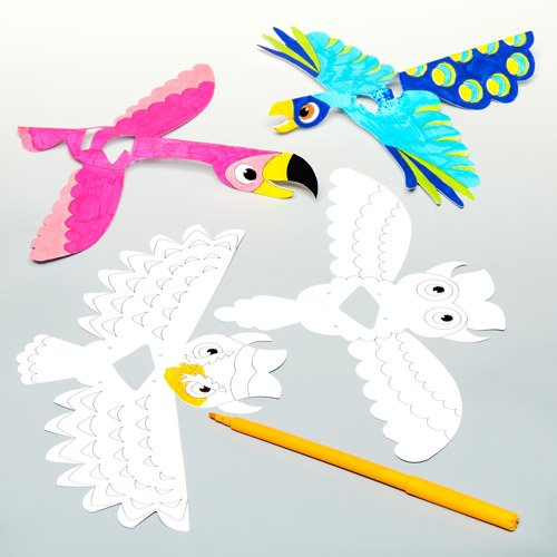 Display Finger Puppet - Baker Ross Exotic Bird Color-in Finger Puppets for Children to Design Make and Display - Creative Craft Kit for Kids (Pack of 10)