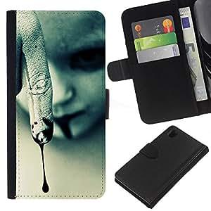 For Sony Xperia Z1 L39 Case , Vampire Halloween Dark Goth - la tarjeta de Crédito Slots PU Funda de cuero Monedero caso cubierta de piel