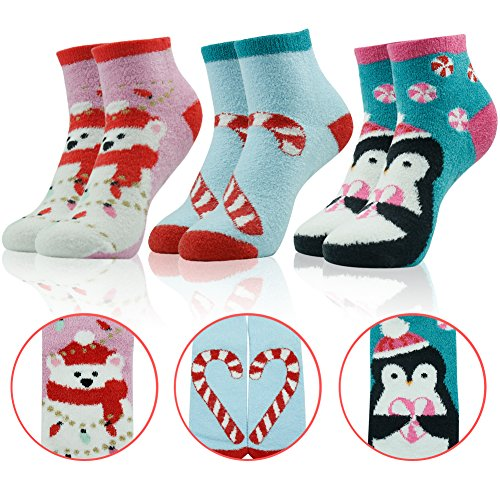 Slipper Socks for Women,Warm Fuzzy Cozy Penguin Bear Candy Cane Patterned Fluffy Animal Socks Vive Bears 3 Pairs (Bears Cane Candy)