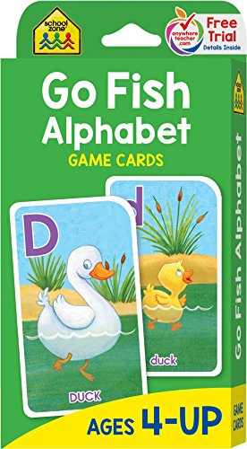How To Play Go Fish Card Game - School Zone - Go Fish Alphabet Game Cards - Ages 4 and Up, Preschool to First Grade, Uppercase and Lowercase Letters, Word-Picture Recognition, Matching, and More