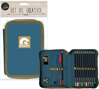 Baggy Plumier Estuche Azul y Camel con Material Escolar: Amazon.es: Juguetes y juegos