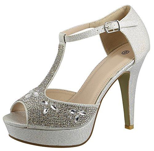 Cambridge Select Women's Peep Toe T-Strap Crystal Rhinestone Chunky Platform High Heel Sandal,8 B(M) US,Silver