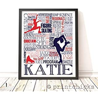 8x10, Ice Skater 3 Pack - Gold Ice Dancing Figure Skater Frame not included Ice Skater Made in USA Ice Skating Figure Skating Olympics 3 Pack of Gold Poster Print Photo Quality