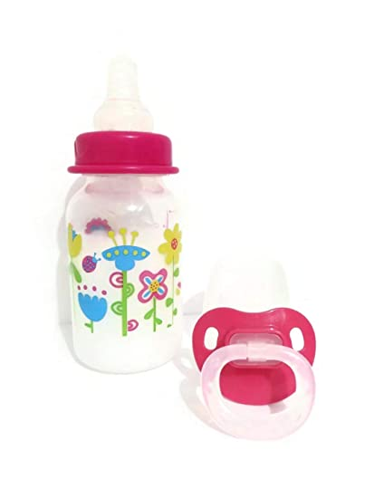 Amazon.com: Reborn muñeca Botella 5oz Fake Leche Rosa Tapa ...
