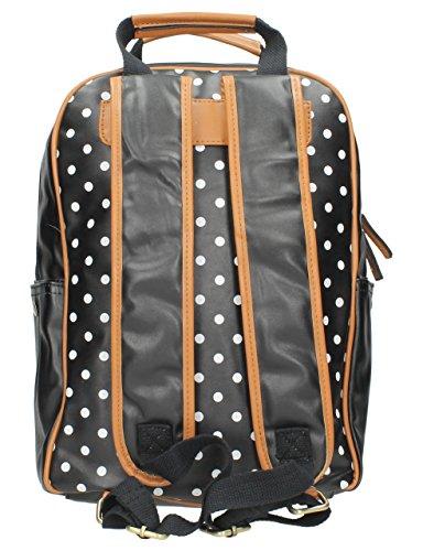SwankySwans Beau Kleiner Rucksack, gepunktet, mit passender Hülle für iPad/Tablet, Schwarz