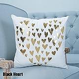 CALISTOUK Creative Shining Gilding Pattern Design Soft Pillow Cushion for House Car Bed Decor,Black Heart