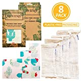 Green Estate Reusable Beeswax Wrap and Mesh Produce Bag Bundle - 4 Pack Food Storage Wrap + 4 Mesh Produce Storage Bags - Eco-Friendly, Plastic Free, Sustainable (Teal Cactus)