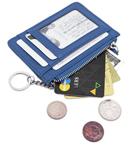 - Zhoma RFID Blocking Genuine Leather Wallet - Credit Card Holder with Key Ring and ID Window - Navy Blue