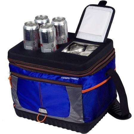 Useful, Affordable 30-Can Xtreme Cooler in Blue and Orange with Molded Cup Holders and Quick-In Access - 13.5 x 10.75 x 11.75 inches - Excursion Picnic Cooler