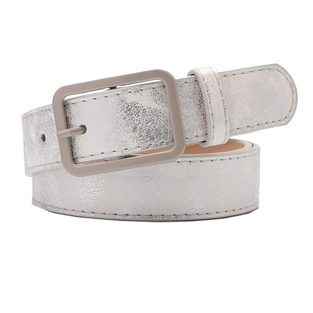 Fashion Womens Leather Belts for Jeans Pants with Metal Pin Buckle Ladies Retro Vintage Leather Waist Belt