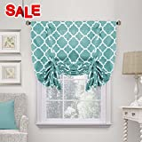 Cheap H.VERSAILTEX Rod Pocket Blackout Curtain Tie Up Balloon Shade Window Panels for Living Room/Bedroom Printed Smoke Blue Pattern 42W x 63 One Panel