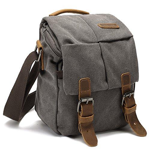Stylish Camera Bag (Camera Bag Vintage Canvas Shoulder Genuine Leather Trim Shockproof Messenger Bag for SLR/DSLR (Grey))