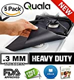 QUALA. Gas Range Protectors 5 Pack + FREE EBOOK ! - Stove Protector Burner Cover Cook Top Hob Liners. Reusable Easy Clean Non Stick FDA Approved Prime ✔ 3MM TRIPLE THICKNESS.