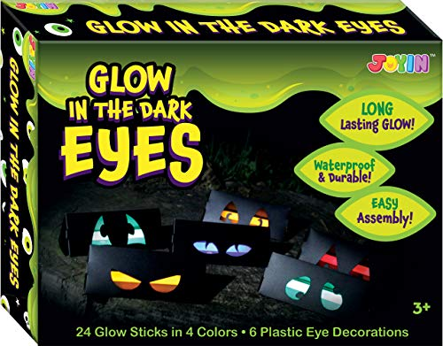 JOYIN Halloween 6 Pieces Plastic Eye Decorations with 24 Glow in The Dark Long Lasting Glow Sticks Festive Party Supplies