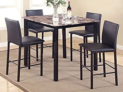 Amazoncom Aiden 5 Pc Counter Height Table Set Wfaux Granite Top