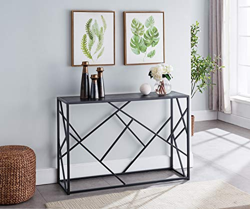 (Kings Brand Furniture - Macon Modern Sofa/Entryway Console Table, Black )