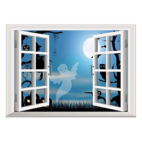 SCOCICI Removable 3D Windows Frame Wall Mural Stickers/Halloween,Ghost Witch Owl Spider Web Bats Trees Fantastic Grange Forest at Night Decorative,Blue Black White/Wall Sticker Mural -