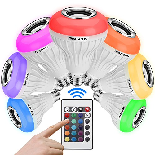 Texsens Bluetooth Music Bulb E27 LED Light 3.0 6W 100-240V Music Playing RGB Change Light with 24keys Remote Control Wireless Stereo Audio Speaker