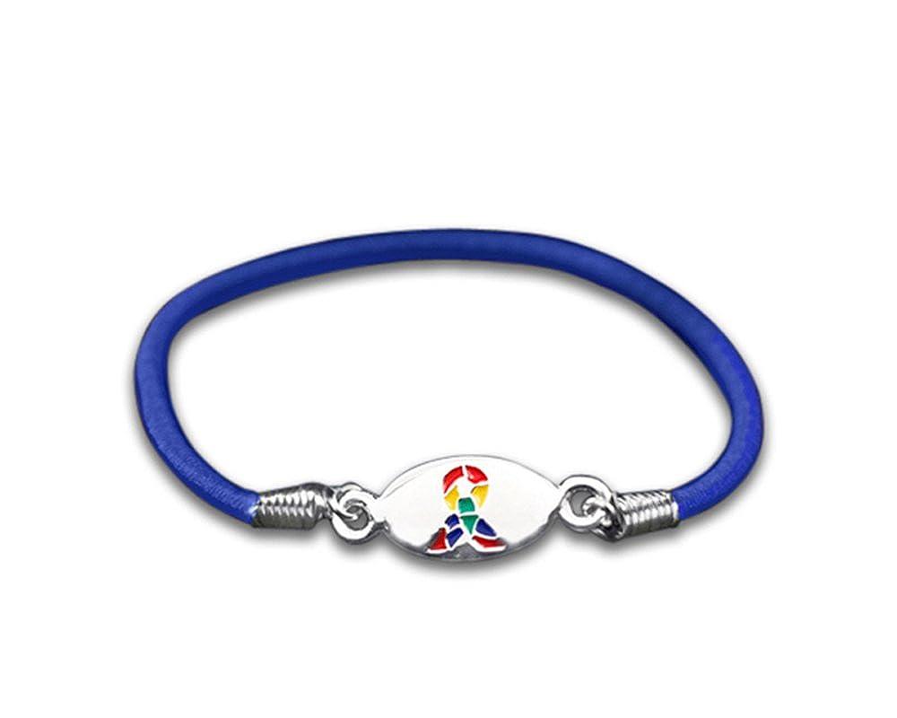 Fundraising For A Cause Autism Awareness Ribbon Stretch Bracelets (Wholesale Pack - 25 Bracelets)