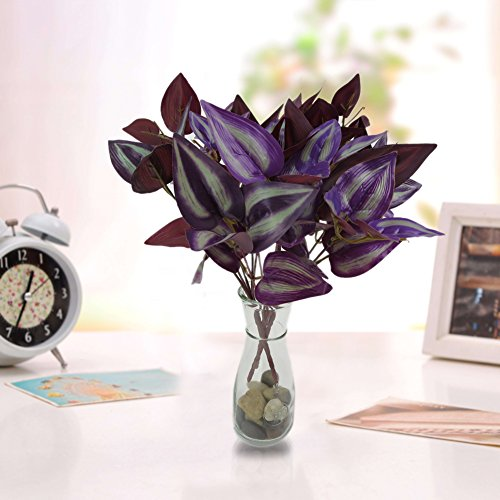 dezirZJjx Artificial Plants 5 Branches/1 Pc Plastic Leaves Artificial Plant Office Garden Home Decoration - Purple