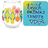 Flip Flop Beach Gift Bundle: 16 oz Flip Flop Stemless Wine Glass + Napkins + Bonus, Grandma Olive's Sex On The Beach Recipe