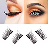 #2: New Dual Magnetic False Eyelashes - 1 Pairs (4 Pieces) Ultra Thin 3D Fiber Reusable Best Fake Lashes Extension for Natural, Perfect for Deep Set Eyes & Round Eyes Black and Brown