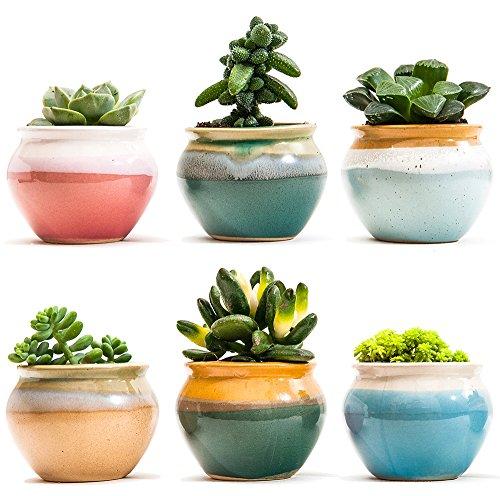 SUN-E 2.75 Inch Ceramic Succulent Plant Pot Flowing Glaze Black&White Base Serial Set Cactus Plant Pot Flower Pot Container Planter With Hole(6 In Set) by SUN-E