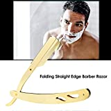 Anself-Stainless-Steel-Straight-Edge-Barber-Shaving-Razor-Gold-Folding-Straight-Razor-Single-Edge-Replaceable-Blades