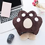 USB Heated Mouse Pad Plush Thickening Cat Bear Paw Mouse Hand Warmer with Wrist Guard Warm Winter(Dark Brown)