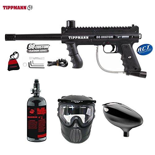 Model 98 Tippmann Accessories (MAddog Tippmann 98 Custom ACT Beginner HPA Paintball Gun Package - Black)