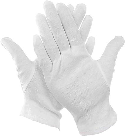 Bestgle 15 Pares XL Guantes de Trabajo de Algodón Color Blanco de 21 cm para Inspeccionar Joyas, Humectantes para Manos Secas y Trabajo Diario: Amazon.es: Belleza
