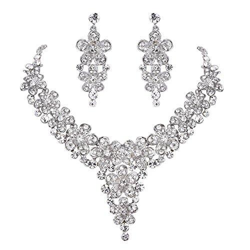 Dangle Floral Bridal Set (BriLove Women's Wedding Bridal Crystal Multi Hibiscus Flower Statement Necklace Dangle Earrings Set Clear Silver-Tone)